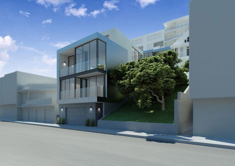 150-162 Grand View Avenue street-view, design by Zack de Vito Architect