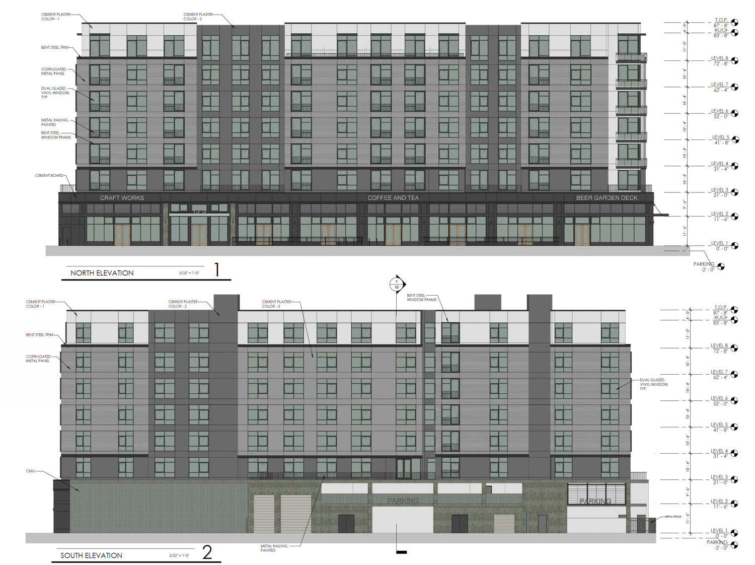 1500 S Street north and south facade elevations, design by HRGA Architecture