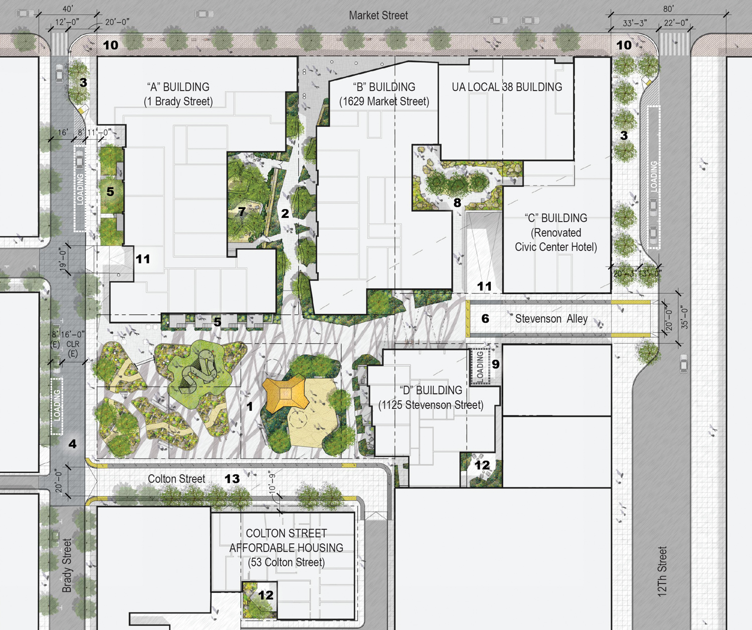 1629 Market Street development with all five buildings, design by Kennerly Architects
