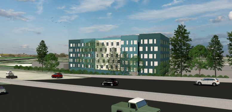 2116 Brush Street as seen from 980 Freeway, design by Lowney Architects