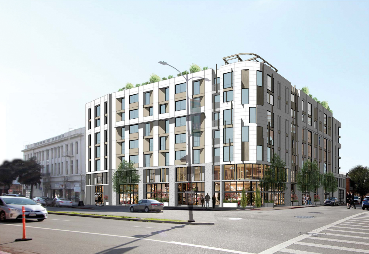 2176 and 2150 Kittredge Street, rendering design by Kava Massih Architects
