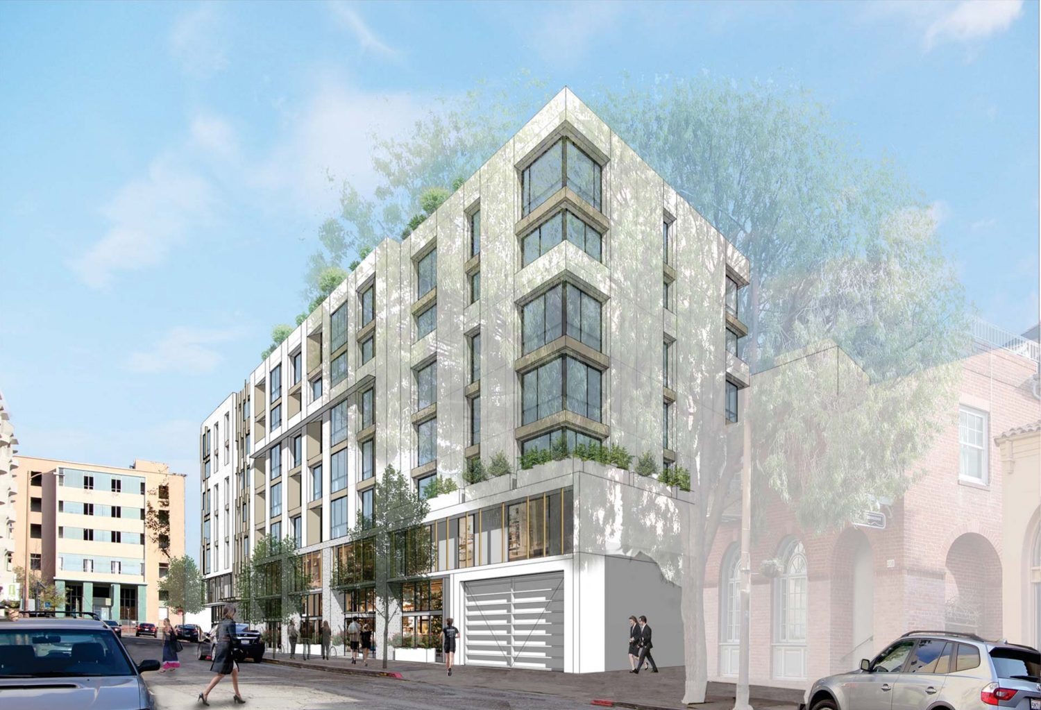 2176 and 2150 Kittredge Street side street perspective, rendering design by Kava Massih Architects