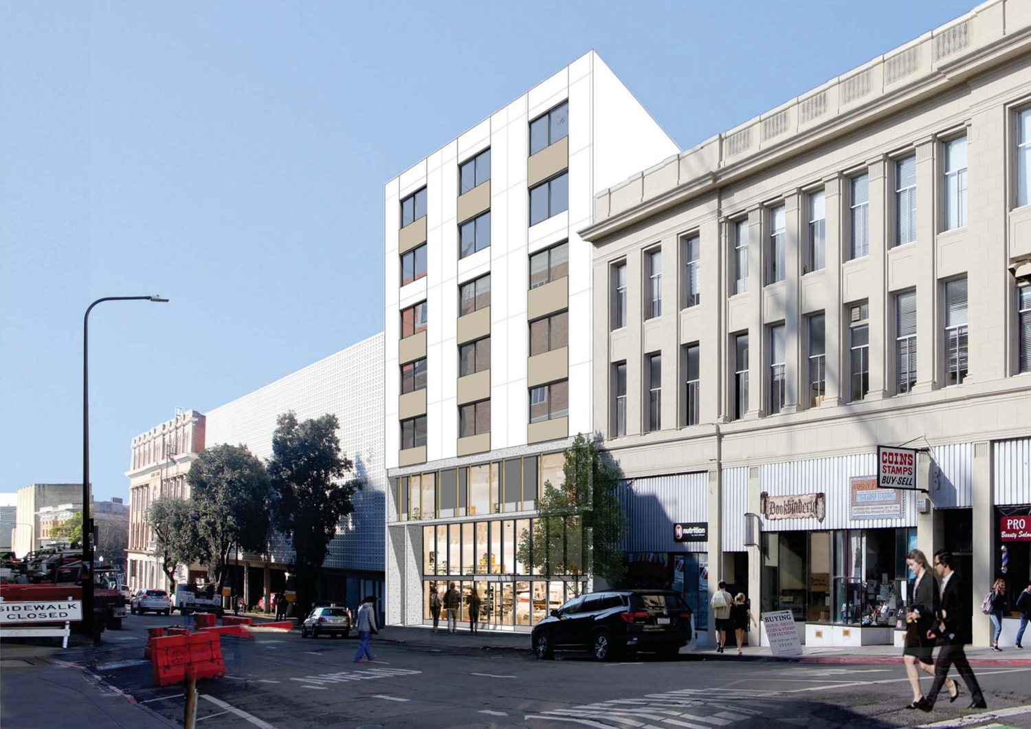 2176 and 2150 Kittredge Street view along Bancroft Way, rendering design by Kava Massih Architects