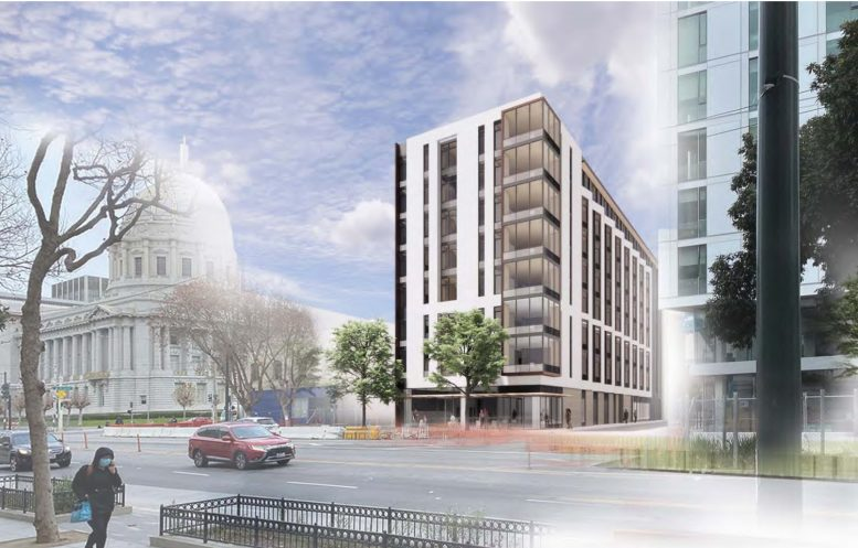 240 Van Ness Avenue with City Hall to the left, rendering by WRNS Studios