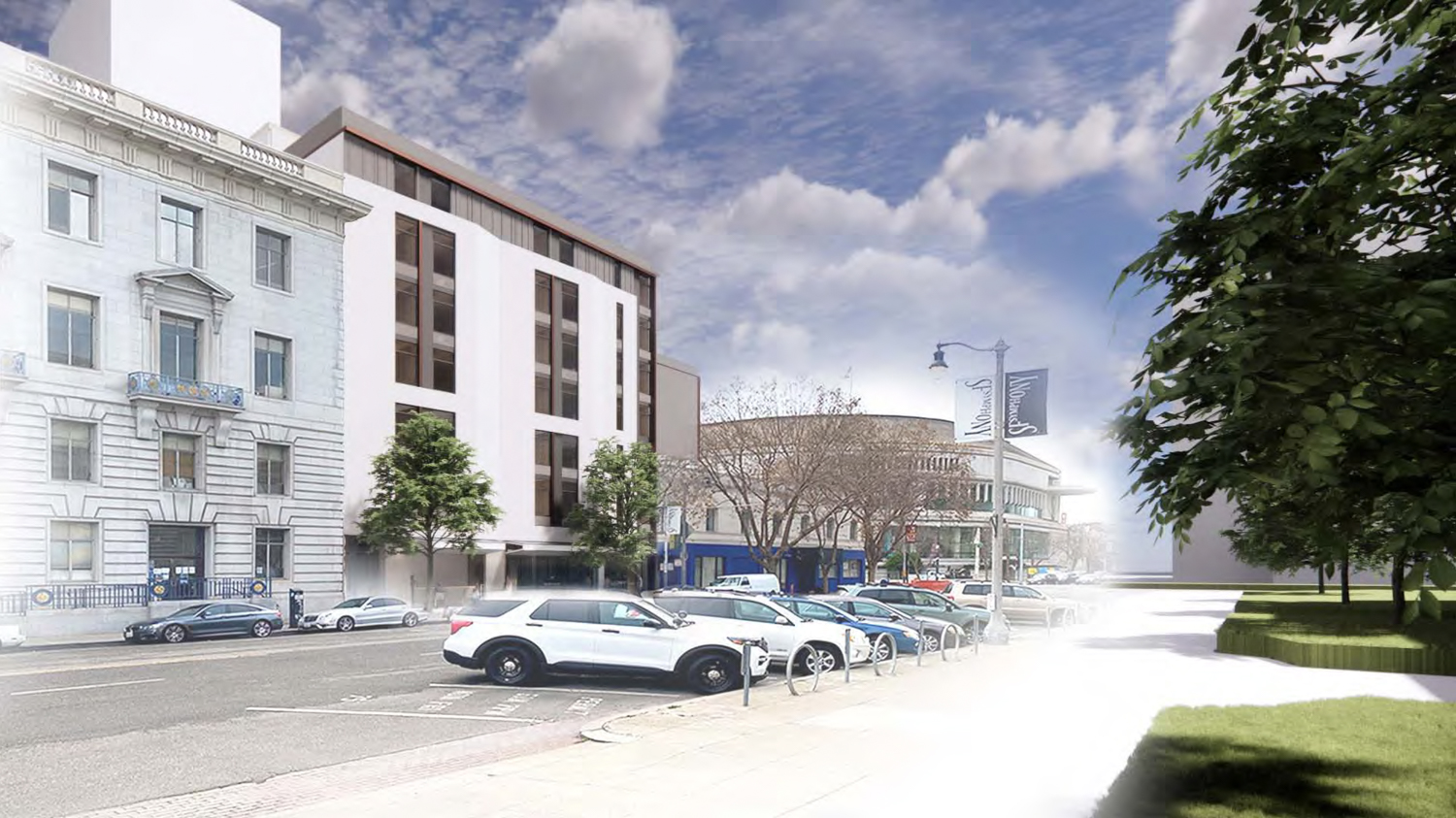 240 Van Ness Avenue with the San Francisco Symphony in background, rendering by WRNS Studios
