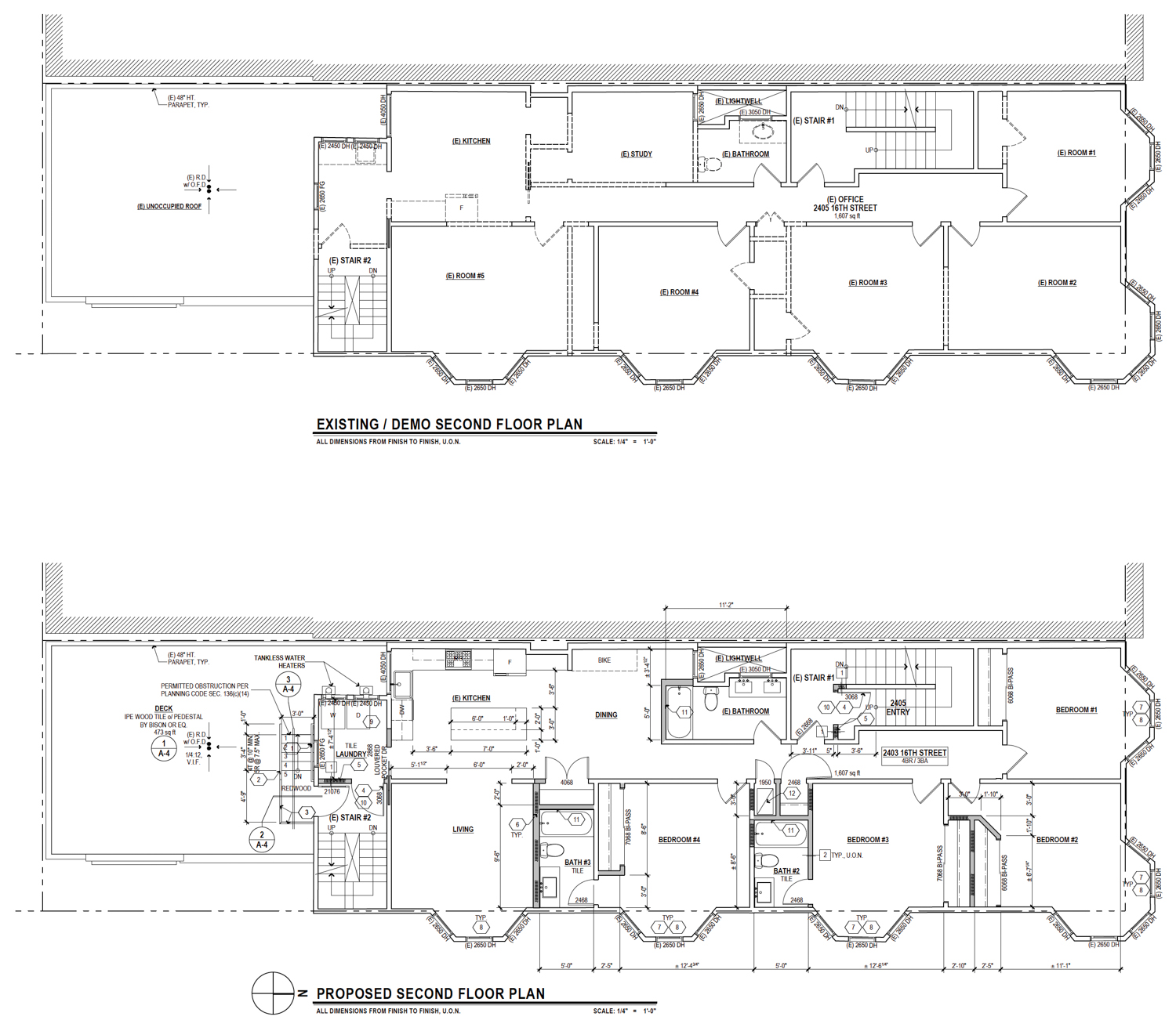 2403 16th Street, second-level existing floor plan above, proposed floor plan below, drawing by Schaub Ly Architects