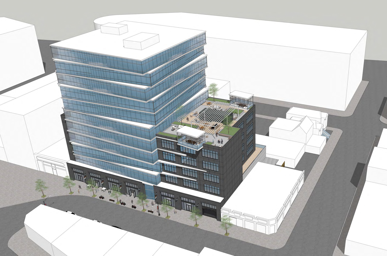 2424 Webster Street birdseye view, rendering by Flynn Architecture