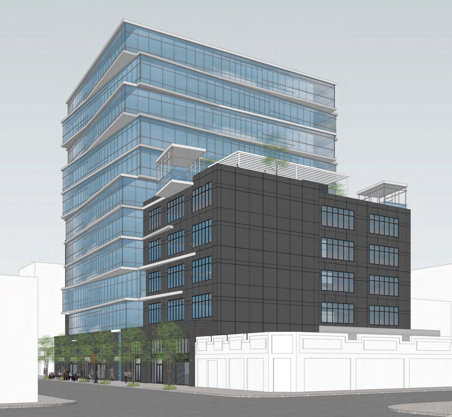 2424 Webster Street from Broadway looking northeast, rendering by Flynn Architecture