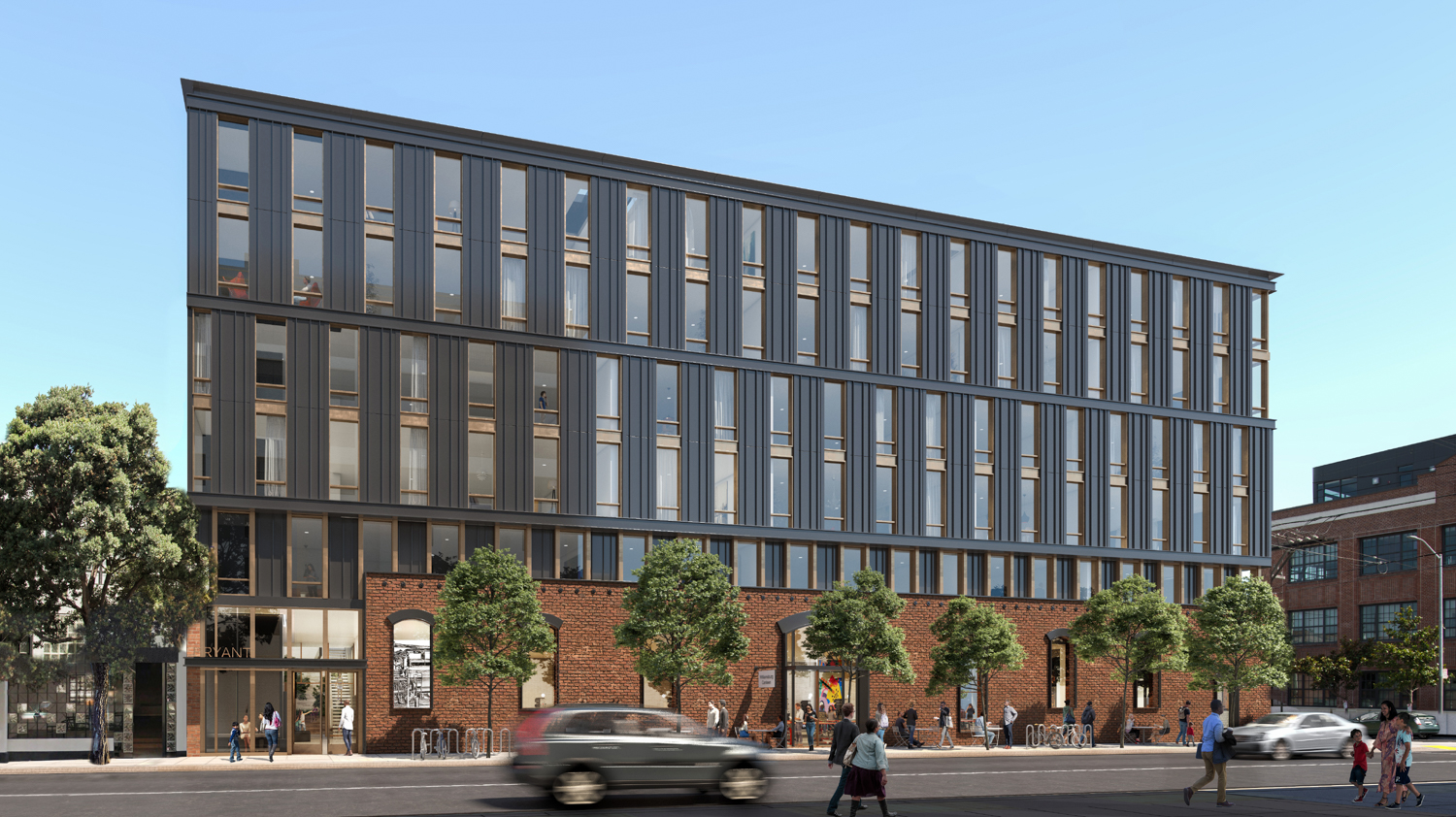 2750 19th Street along Bryant Street, rendering by Perry Architects