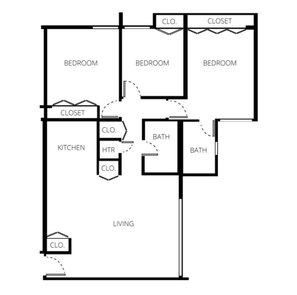 300 Checkers Drive Three-Bedroom Floor Plan