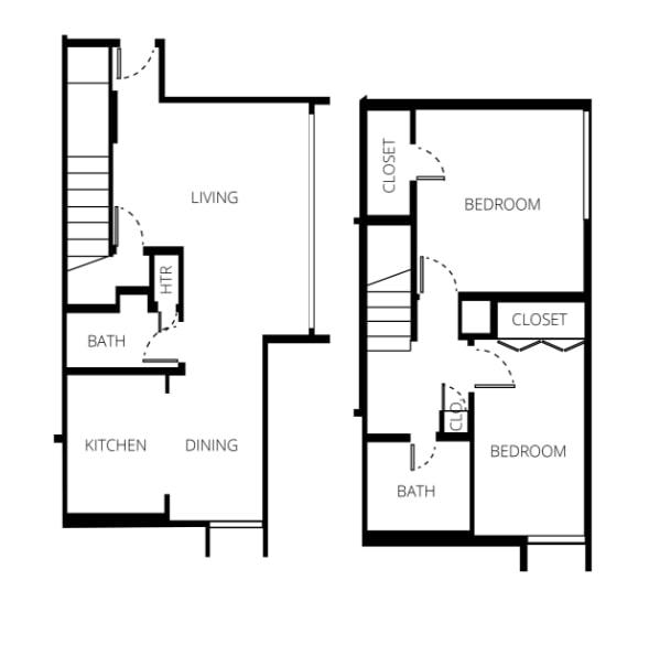 300 Checkers Drive Two-Bedroom Floor Plan