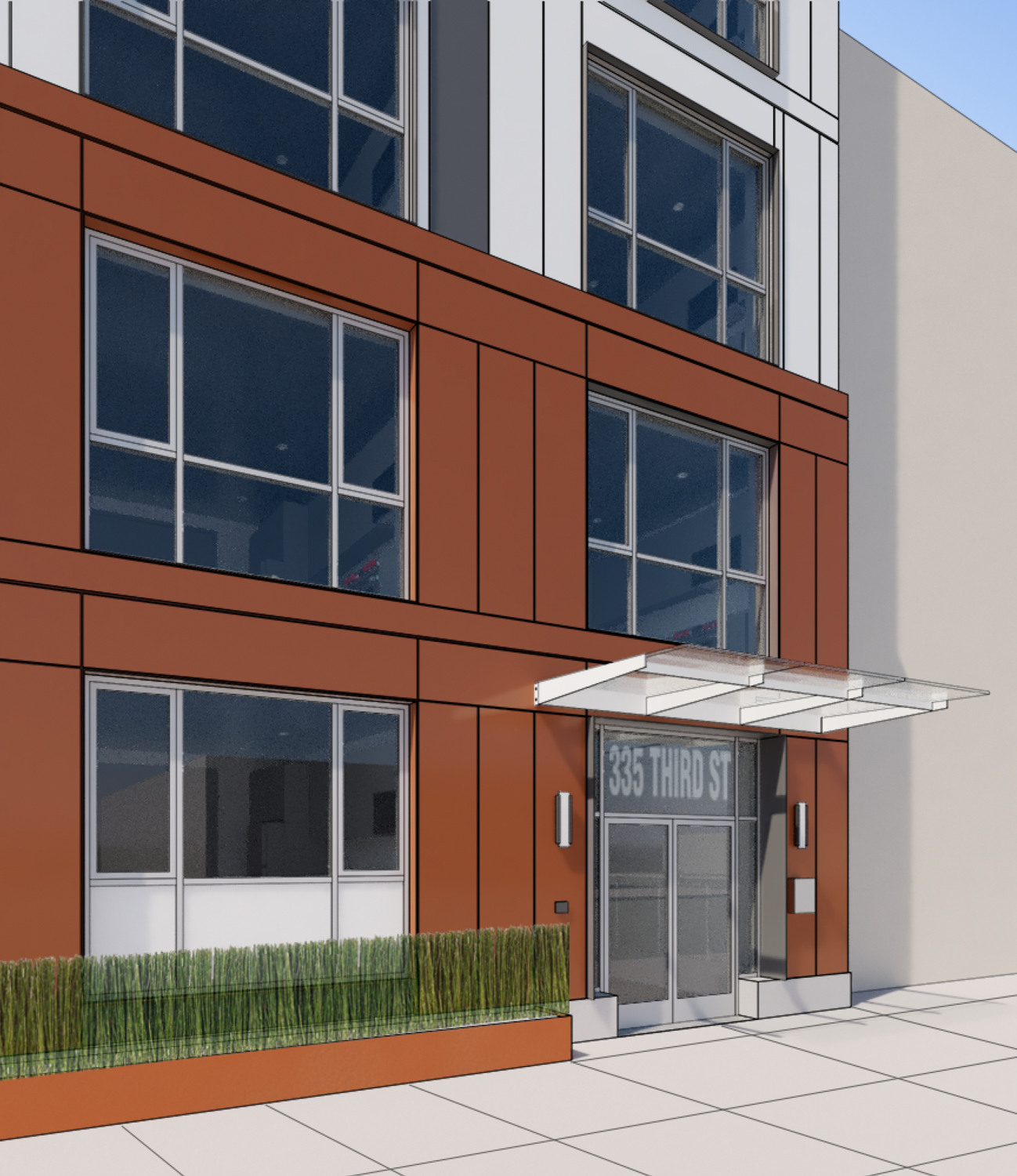 335 3rd Street building entry, rendering by R2 Building