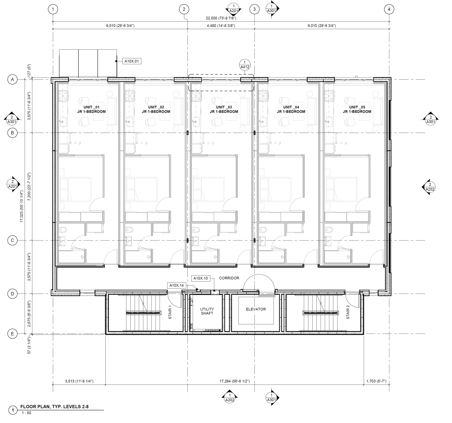 335 3rd Street floor plan for levels two through eight, drawing by R2 Building