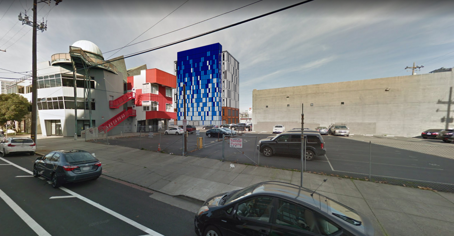335 3rd Street south site viewed from 2nd Street and Harrison, rendering by R2 Building