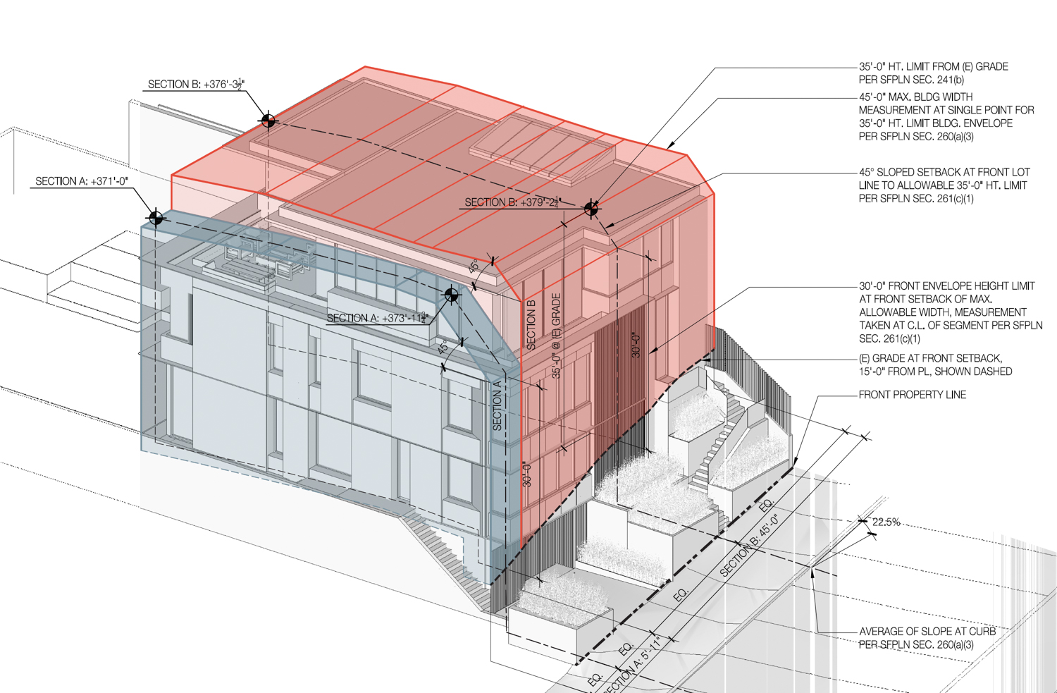 3669 21st Street building envelop, drawing by John Maniscalco Architecture