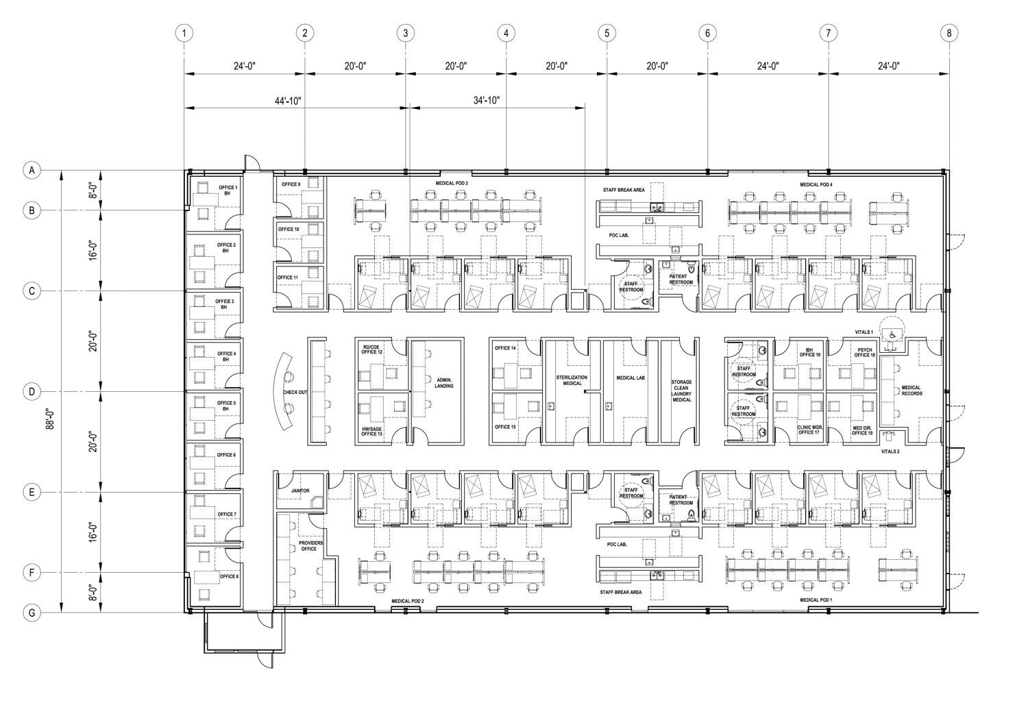 3800 Florin Road floor plan, design by Dean F Unger AIA