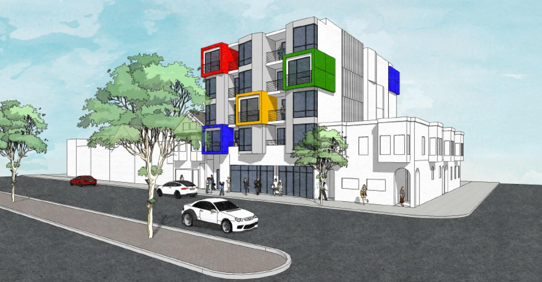 4110-4116 Geary Boulevard, rendering by Derrick T. Wu Architect