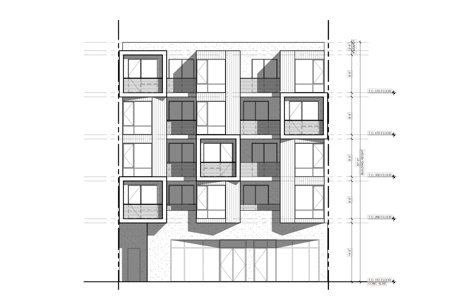 4110-4116 Geary Boulevard southern elevation, design by Derrick T. Wu Architect