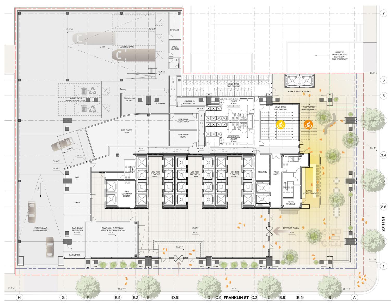 415 20th Street ground level elevation, design by Pickard Chilton