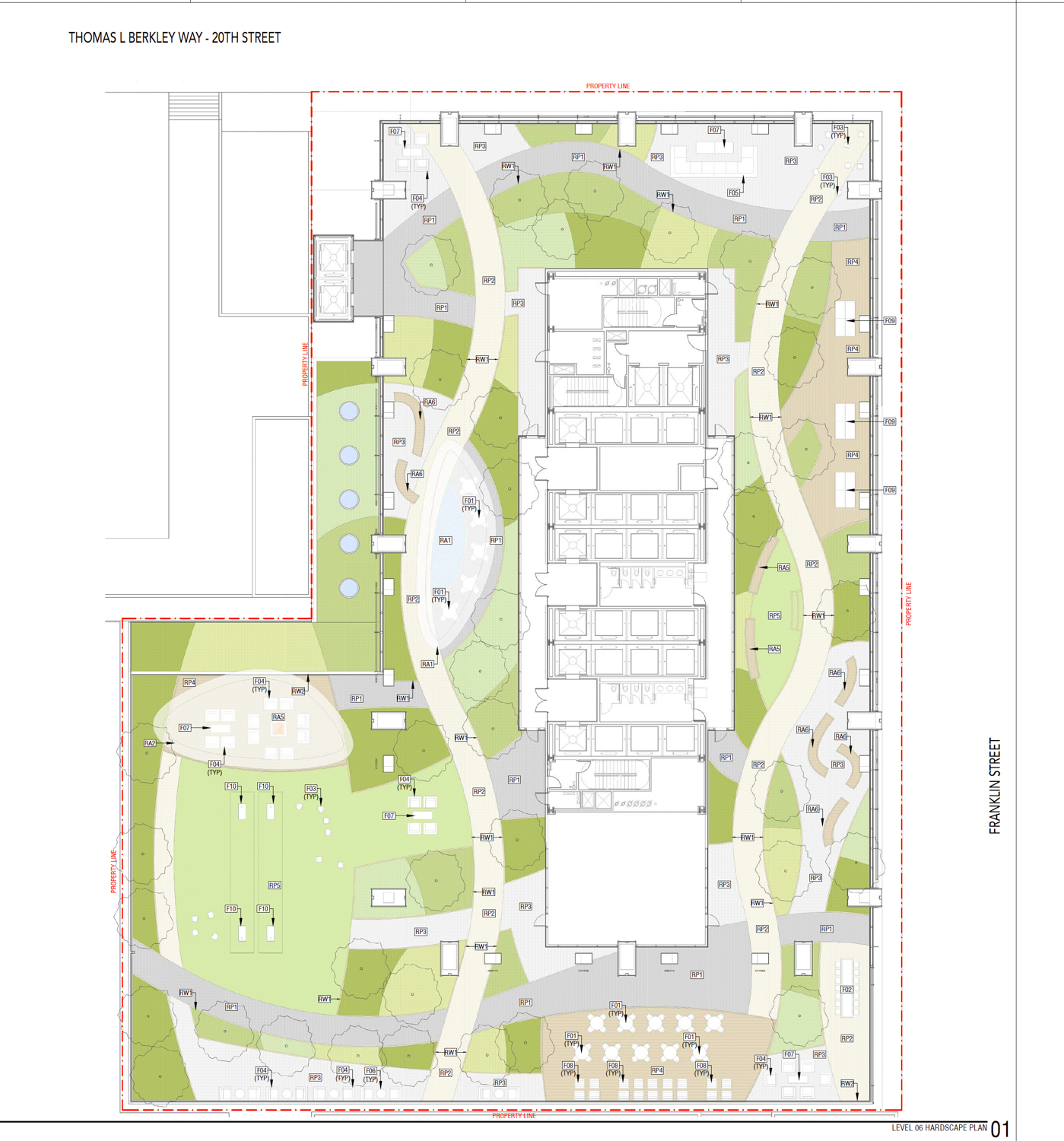 415 20th Street landscaping for the sixth level terrace, design by OJB Landscape Architects