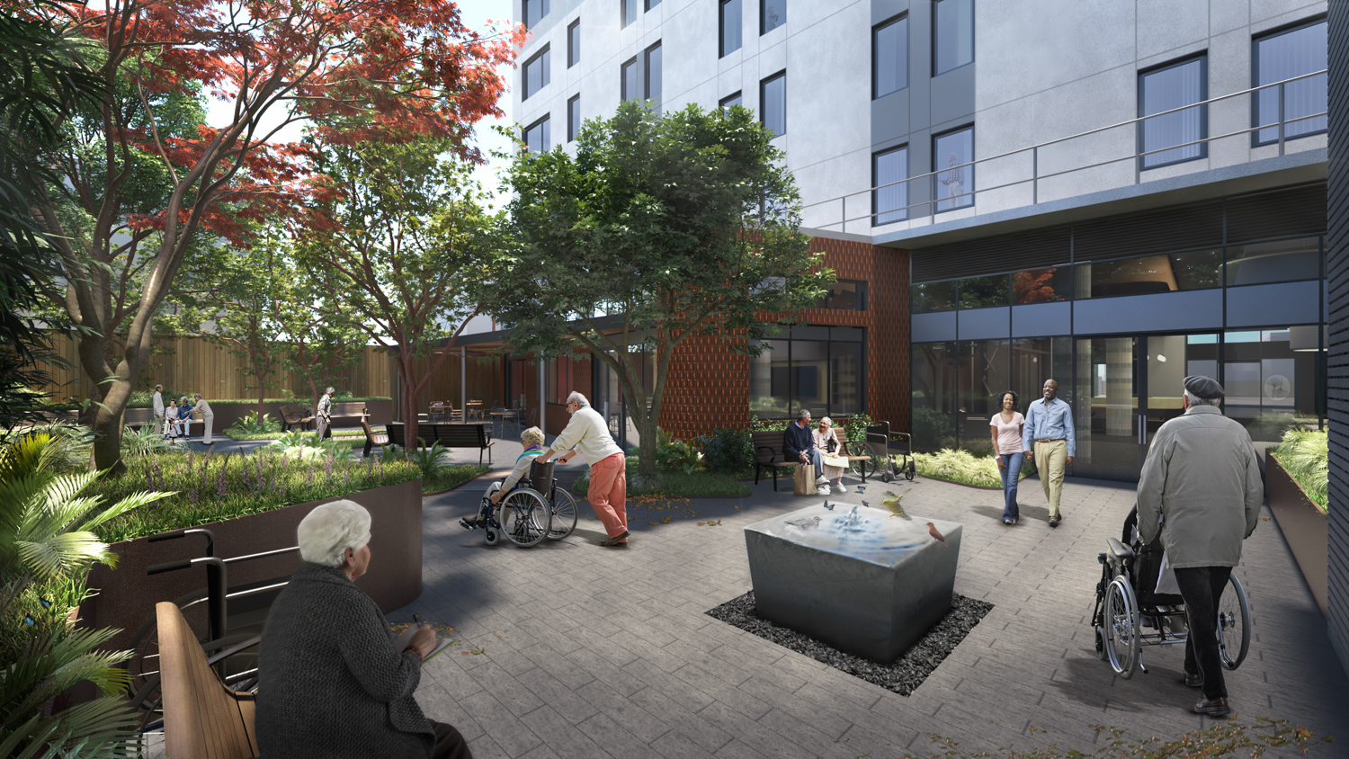 4200 Geary Boulevard courtyard with water feature, rendering courtesy TNDC