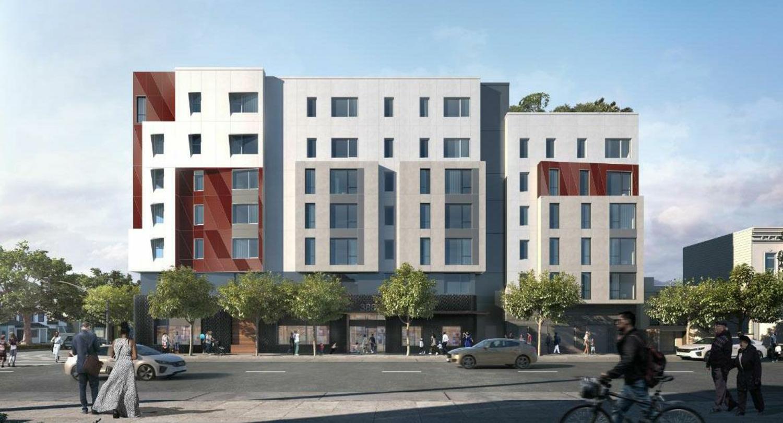 4200 Geary Boulevard facade, rendering via YA Studios