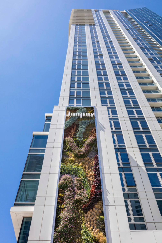 45 Lansing Street tower with plant-based Jasper signage, image via HKS Inc