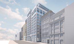 450 O'Farrell Street facade update, design by Gensler