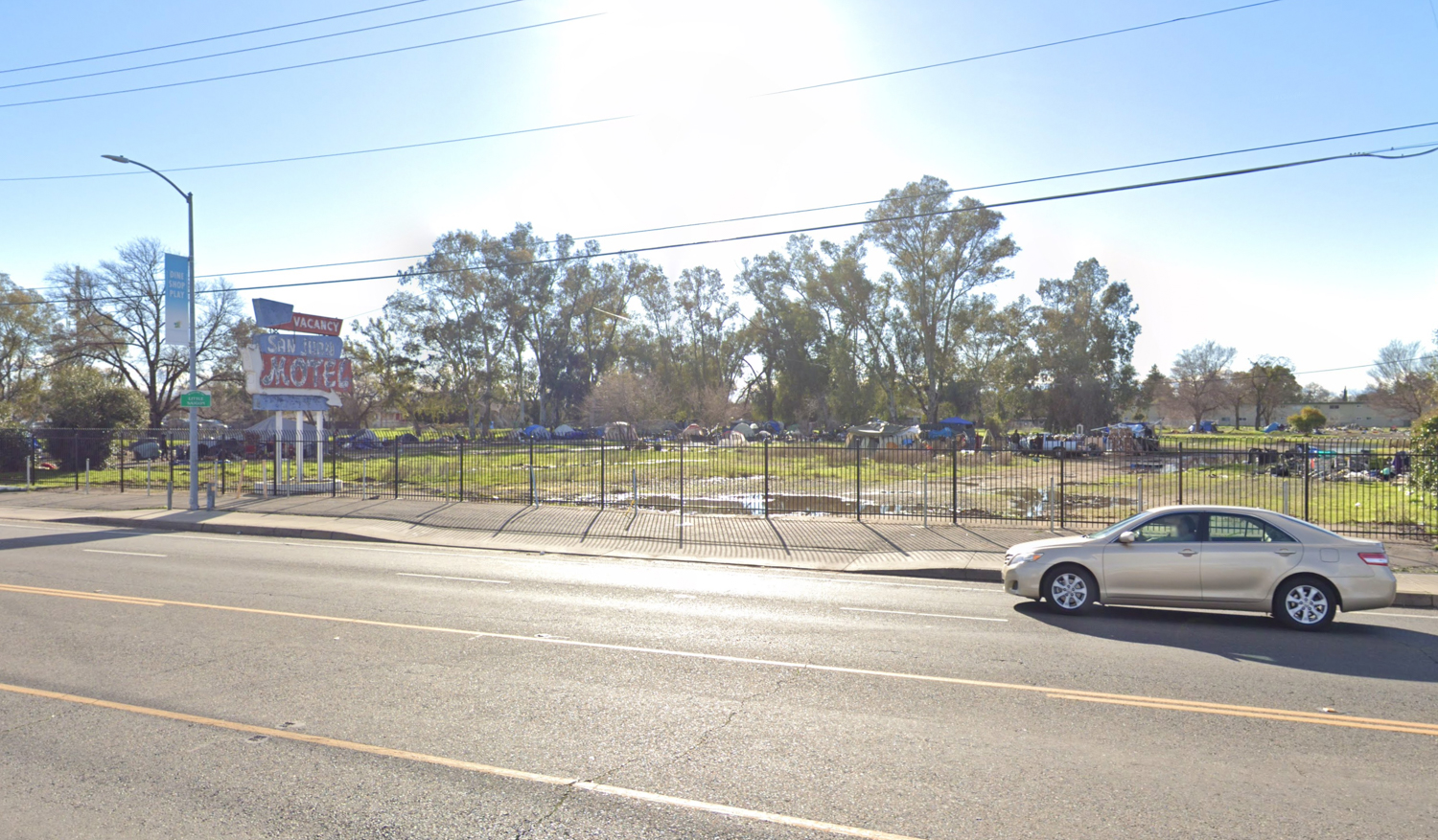 5700 Stockton Boulevard with former homeless camp on site, image via Google Street View