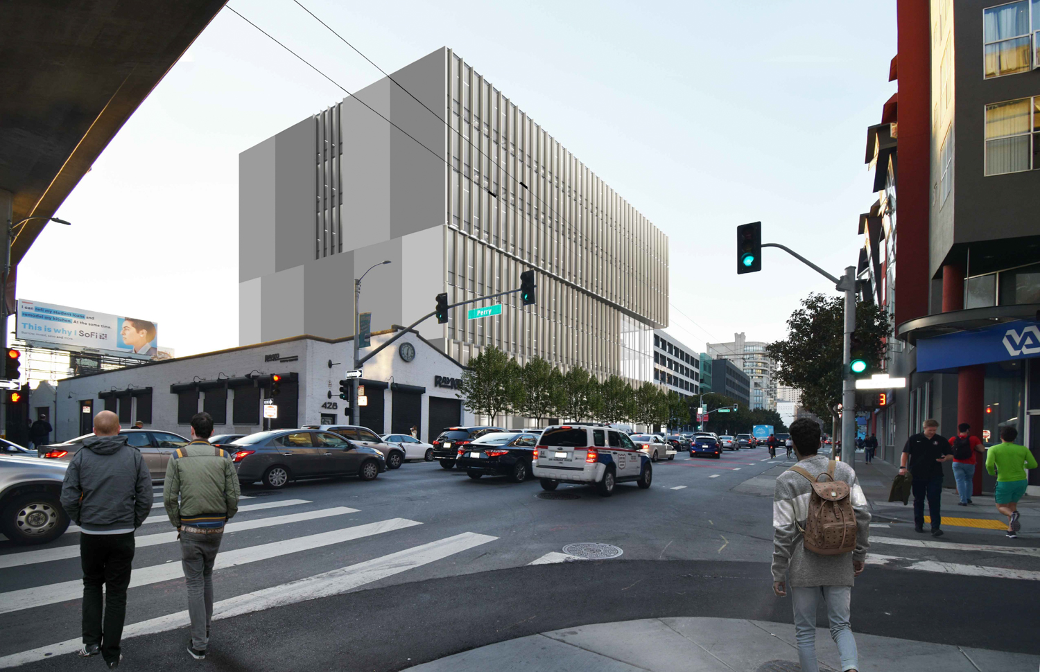 701 Harrison Street, with simplified concrete wall designed to allow for development of the neighboring site, design by Iwamottoscott Architecture