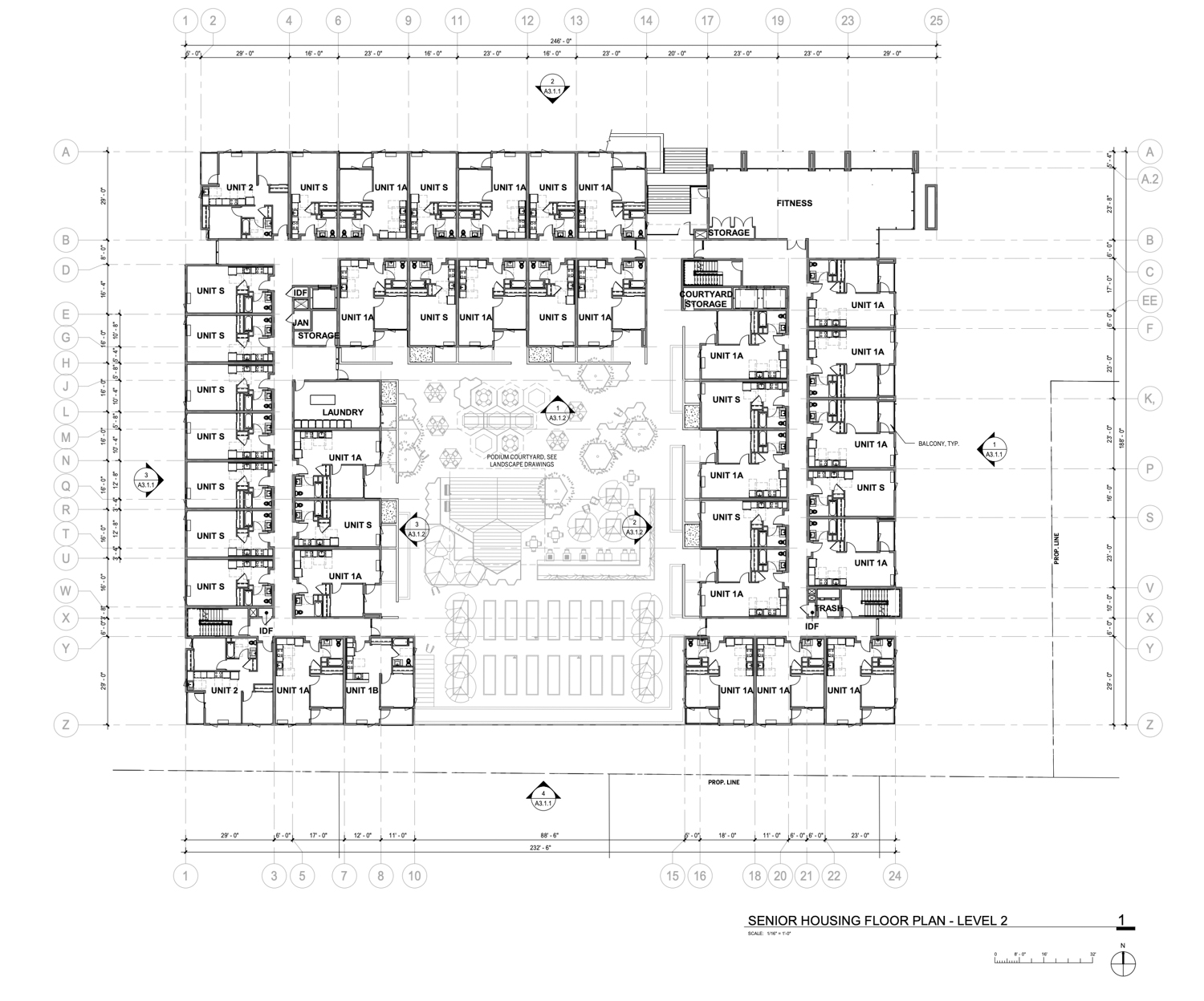 76 North Winchester Street senior housing floor plan level two, drawing by Steingberg Hart