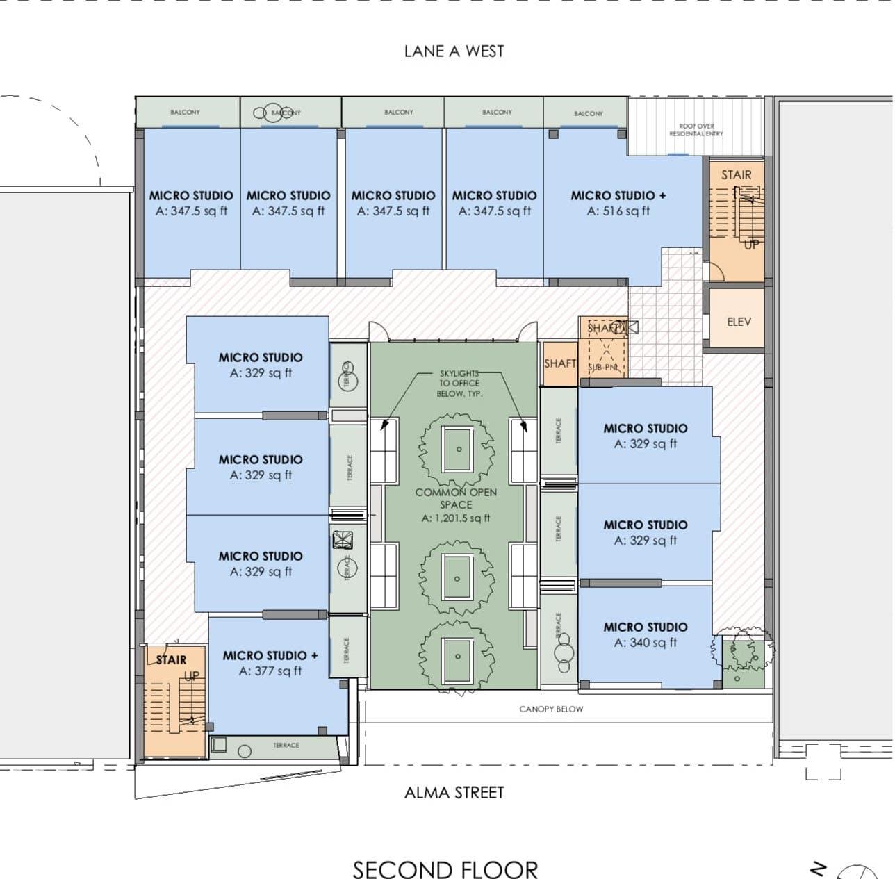 955 Alma Street, Palo Alto Second Floor Plan