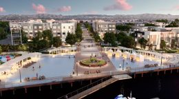 Alameda Landing Bay37 outdoor waterfront gathering space, rendering from Marc Szabo Studios Vimeo