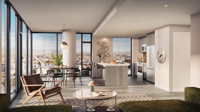 Atlas residential unit, rendering courtesy Carmel Partners