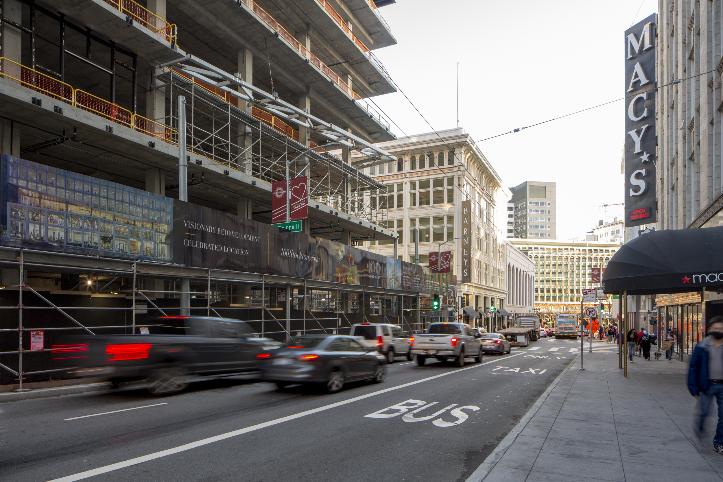 Construction update for 100 Stockton Street looking towards Market Street, image by Andrew Campbell Nelson
