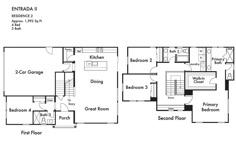 Entrada II sample floorplan along Firestar Way, drawing courtesy Signature Homes