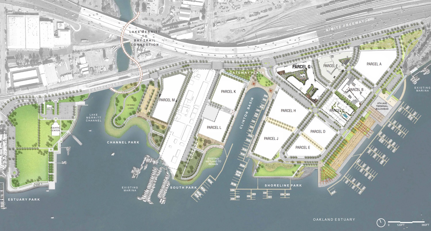 Parcel G at 845 Embarcadero in top right of the full map of the Brooklyn Basin development, design by TCA Architects