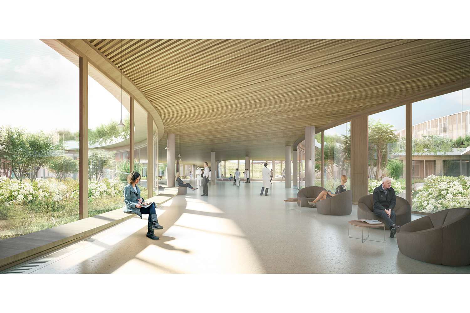 The New North Zealand Hospital is surrounded by nature, image courtesy Herzog & de Meuron via UCSF