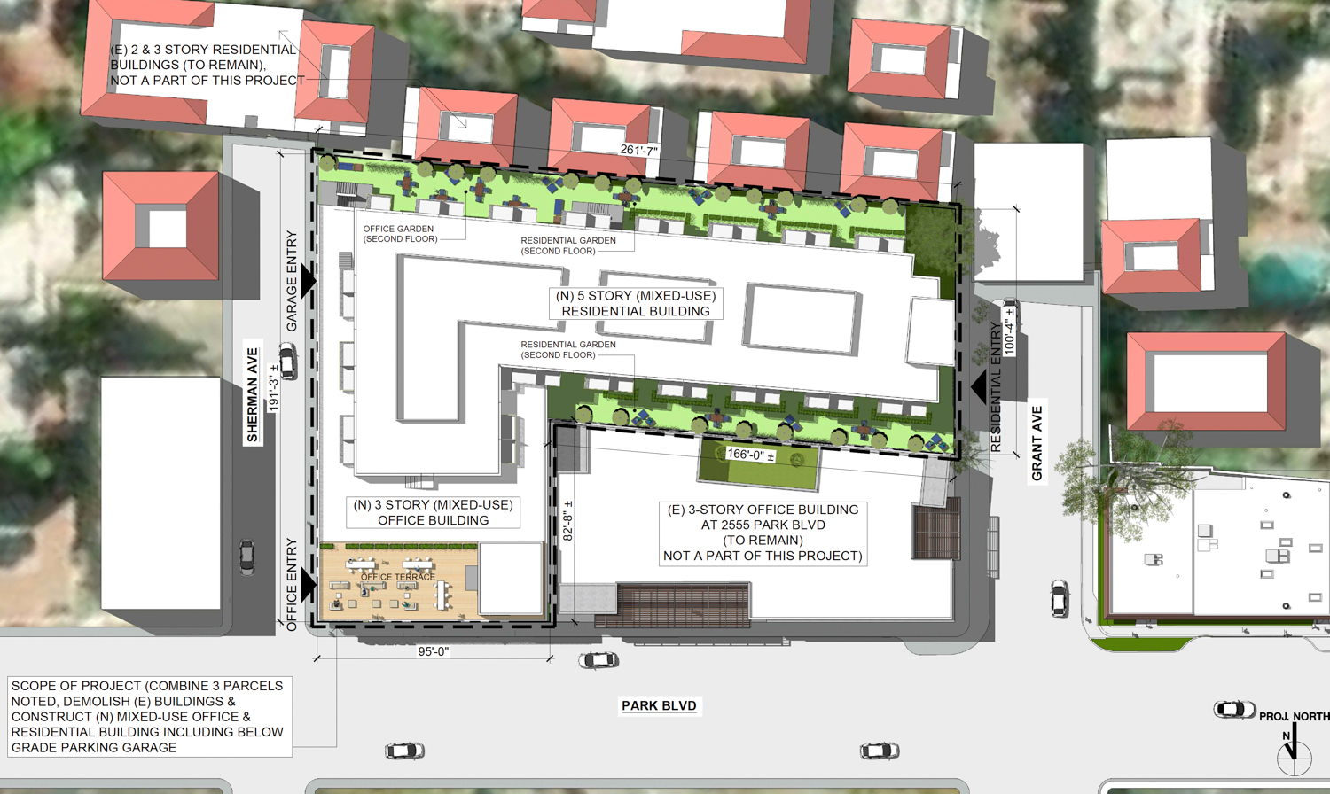 Top-down view of 123 Sherman Avenue project, drawing by KSH Architects