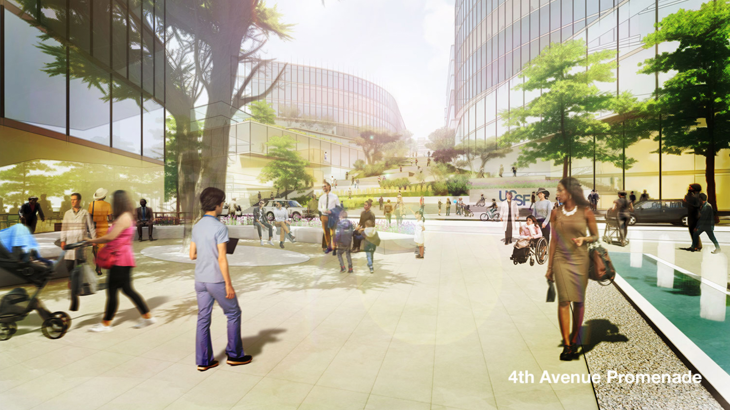 UCSF Parnassus Heights campus design concept from previous iteration, rendering by UCSF via Perkins Eastman