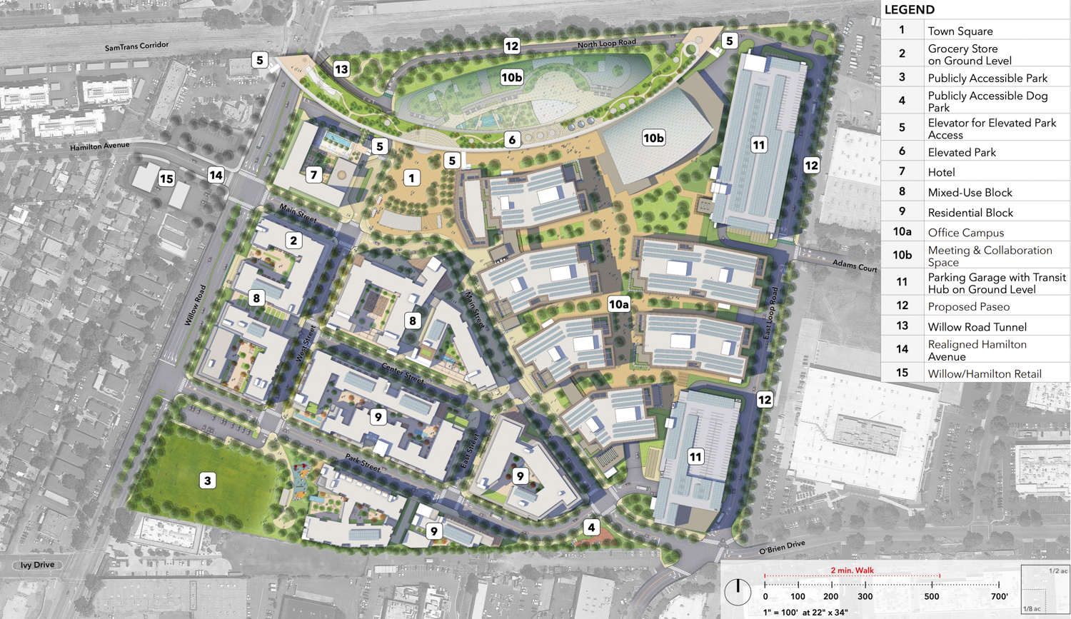 Willow Village campus masterplan, rendering courtesy Facebook and Signature Development Group