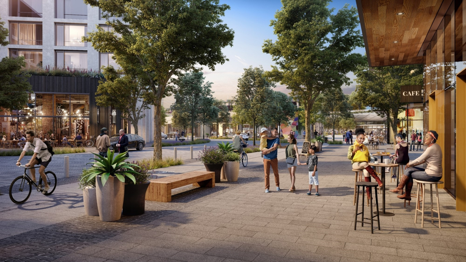 Willow Village retail center street view, rendering courtesy Facebook and Signature Development Group