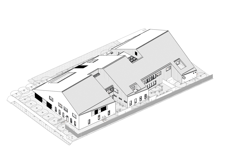 1245 McKay Avenue 3D axon, design by Ankrom Moisan