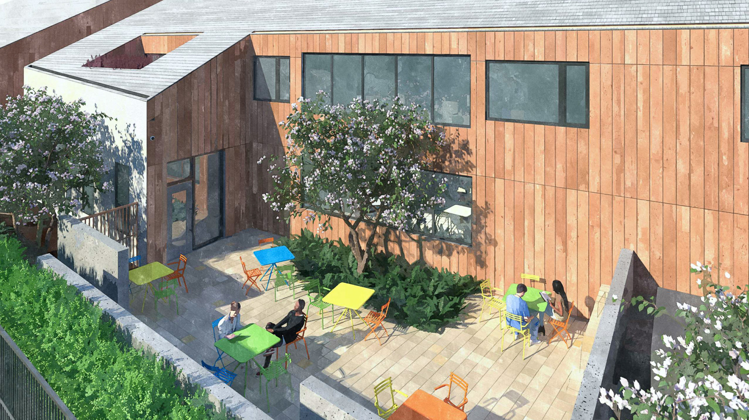 1245 McKay Avenue dining courtyard, design by Ankrom Moisan