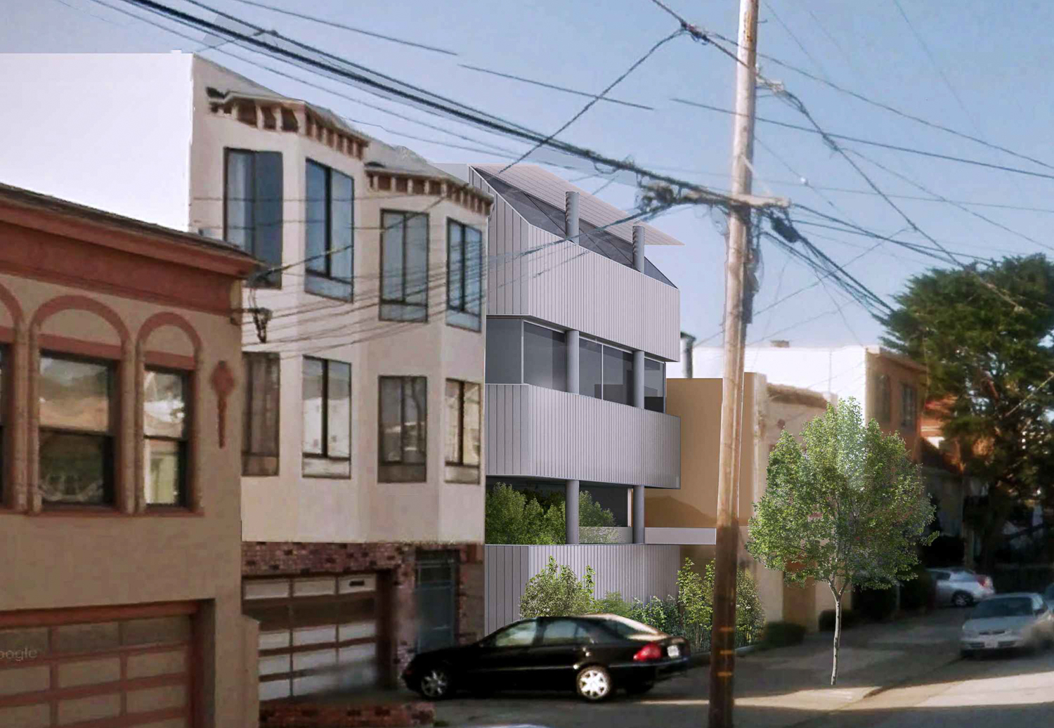 1271 46th Avenue from 46th Ave, rendering by Stanley Saitowitz Architects