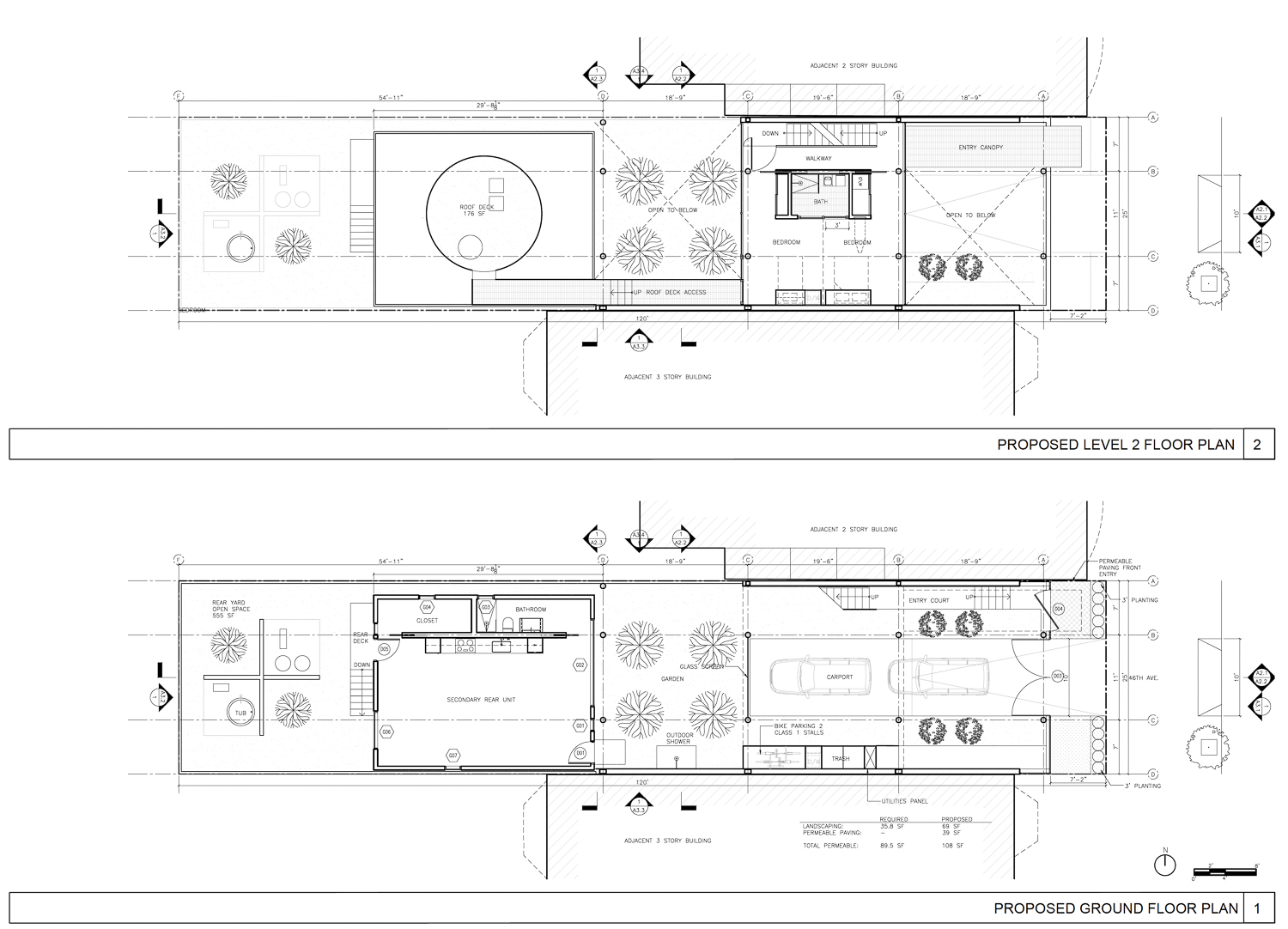 1271 46th Avenue proposed ground floor and second floor, rendering by Stanley Saitowitz Architects