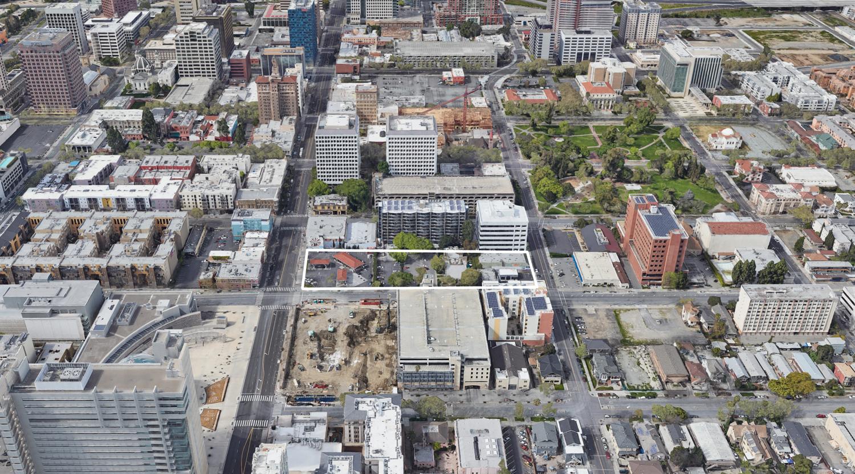 147 East Santa Clara Street outlined in white, via Google Satellite