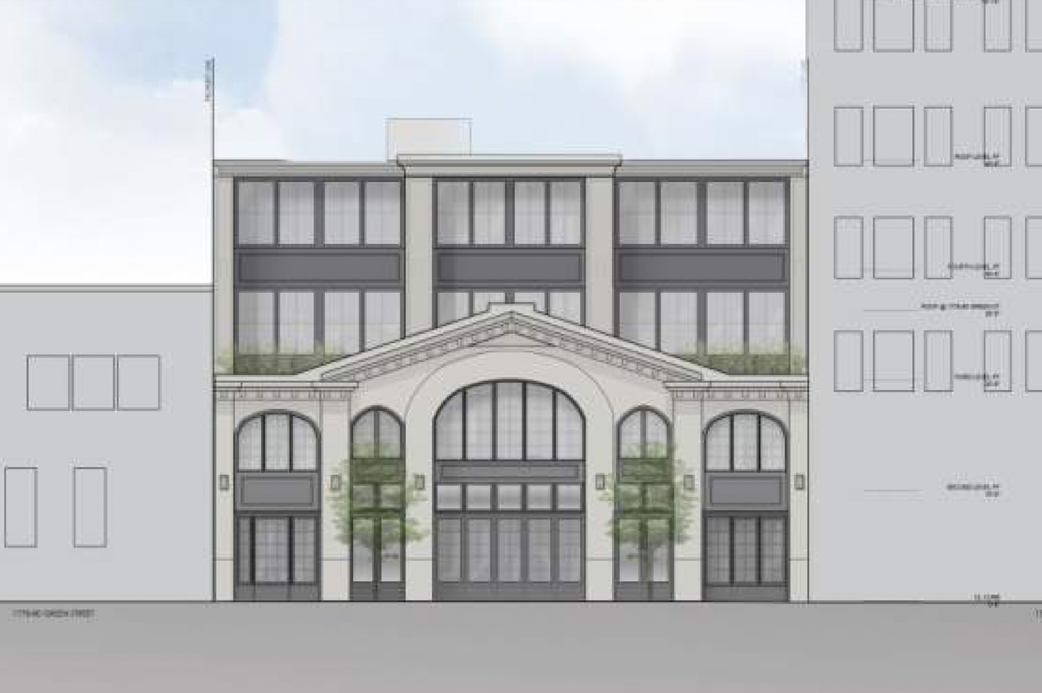 1776 Green Street facade elevation, rendering by Sutro Architects