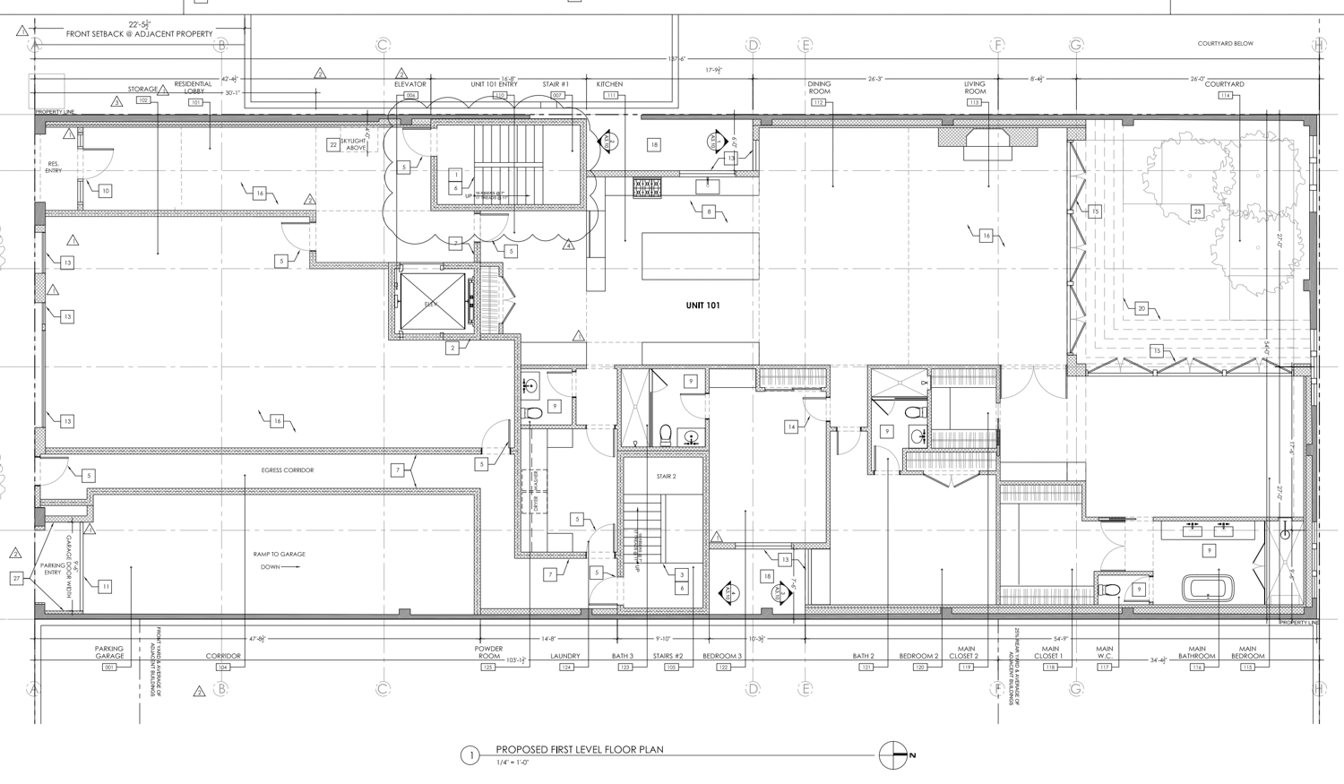 1776 Green Street proposed second level floor plan, elevation from Sutro Architects