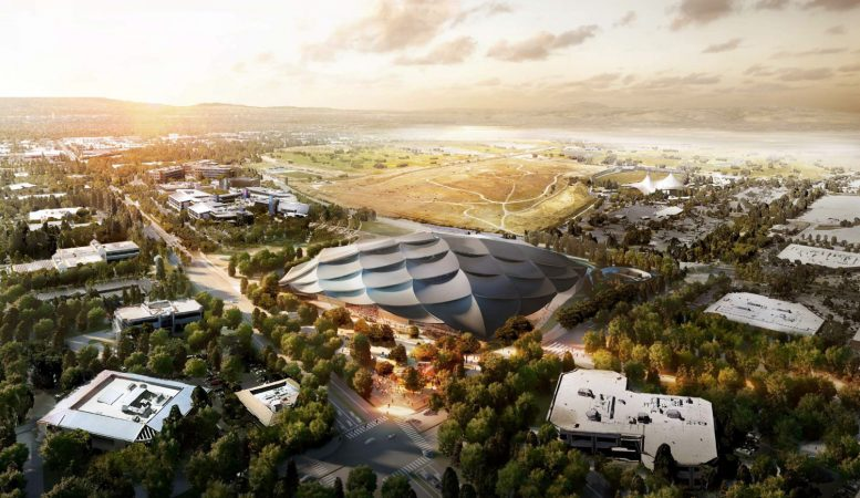 2000 North Shoreline Boulevard aerial view, rendering via BIG and Heatherwick Studios